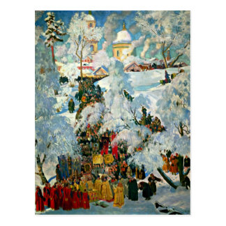 Kustodiev - The Consecration of Water Postcard