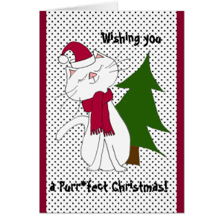 Kute Kitty Purr*fect Christmas Blank Greeting Card