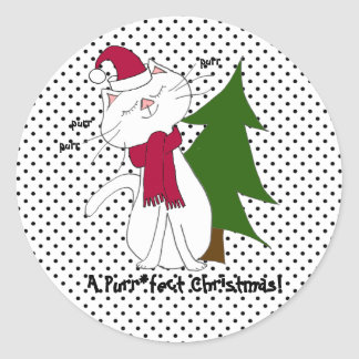 Kute Kitty Purr*fect Christmas stickers (round)