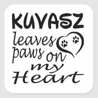 Kuvasz Dog Leaves Paw On My Heart Square Sticker