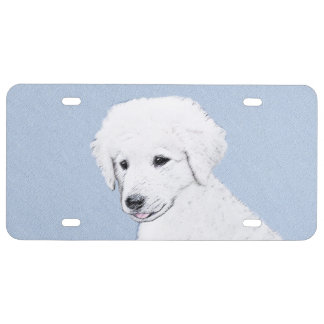 Kuvasz Painting - Cute Original Dog Art License Plate