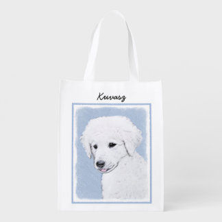 Kuvasz Painting - Cute Original Dog Art Reusable Grocery Bag