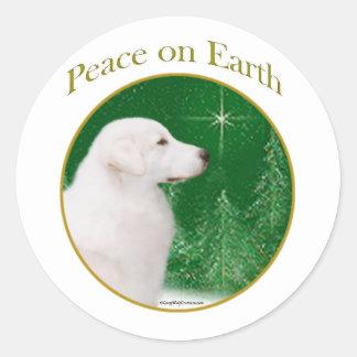 Kuvasz Peace Round Sticker