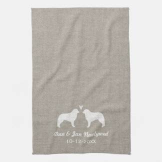 Kuvasz Silhouettes with Heart Kitchen Towel