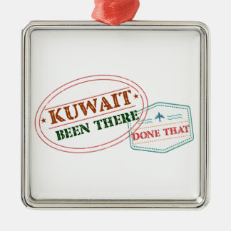 Kuwait Been There Done That Silver-Colored Square Ornament