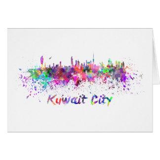Kuwait City skyline in watercolor Card