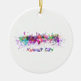 Kuwait City skyline in watercolor Round Ceramic Ornament
