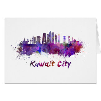 Kuwait City V2 skyline in watercolor Card