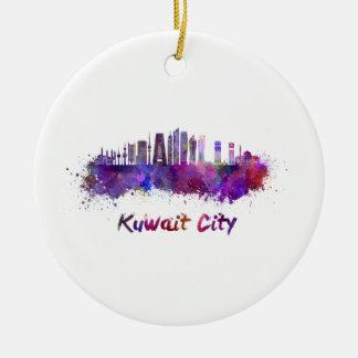 Kuwait City V2 skyline in watercolor Ceramic Ornament