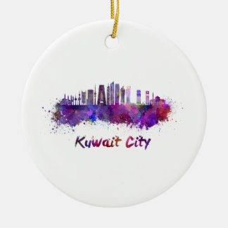 Kuwait City V2 skyline in watercolor Round Ceramic Ornament