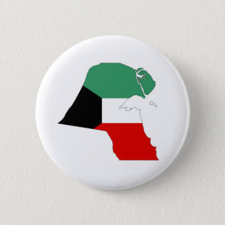 kuwait country flag map shape silhouette 2 inch round button