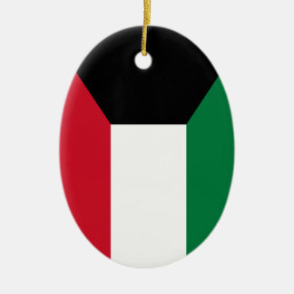 Kuwait Flag Ceramic Oval Ornament