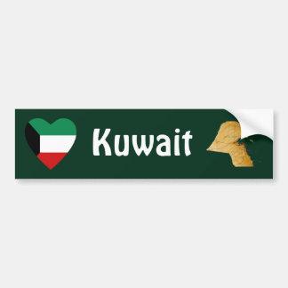 Kuwait Flag Heart + Map Bumper Sticker