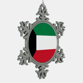 Kuwait Flag Pewter Snowflake Ornament