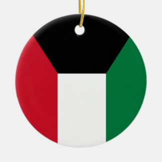 Kuwait Flag Round Ceramic Ornament