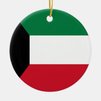 Kuwait Flag Round Ceramic Ornament