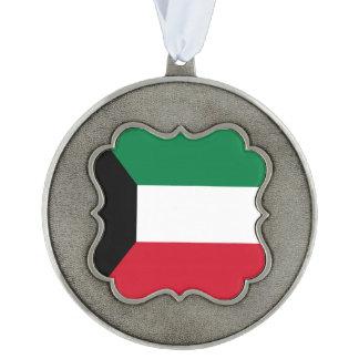 Kuwait Flag Scalloped Pewter Ornament