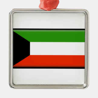 Kuwait Flag Silver-Colored Square Ornament