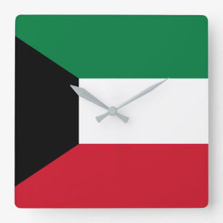 Kuwait Flag Square Wall Clock