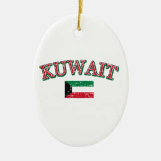 Kuwait football design ceramic oval ornament
