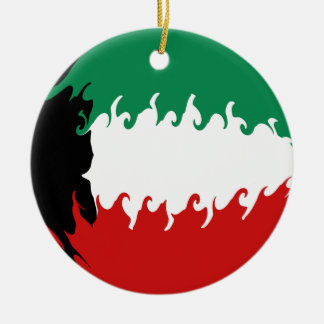 Kuwait Gnarly Flag Round Ceramic Ornament