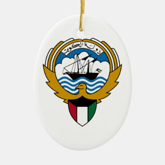 Kuwait National Emblem Ceramic Oval Ornament