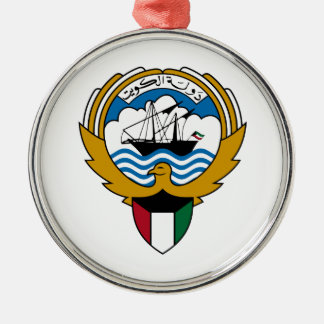 Kuwait National Emblem Silver-Colored Round Ornament