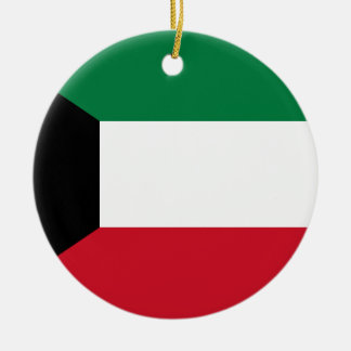 Kuwait National World Flag Round Ceramic Ornament