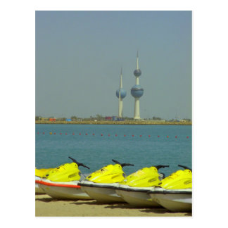 Kuwait towers and jet ski Postcard