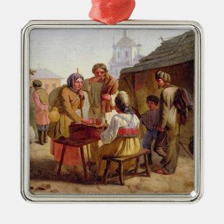 Kvas Seller, 1862 Silver-Colored Square Ornament