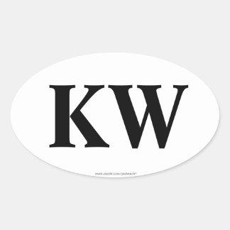 """""""KW"""" Key West Oval Bumper Sticker"""