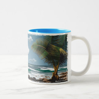 Kwajalein, Marshall Islands Palm and Beach Two-Tone Coffee Mug