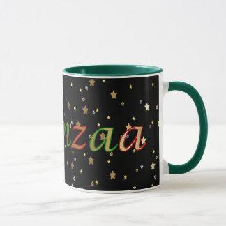 Kwanzaa Black Golden Stars Red Green Ringer Mug