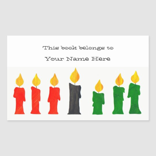 Kwanzaa Bookplates with Candles Sticker