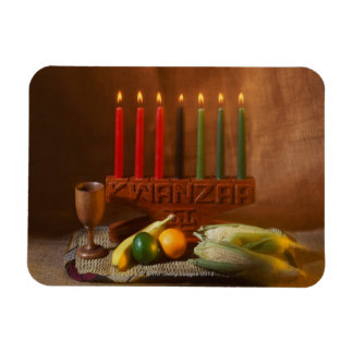 Kwanzaa candles and food magnet