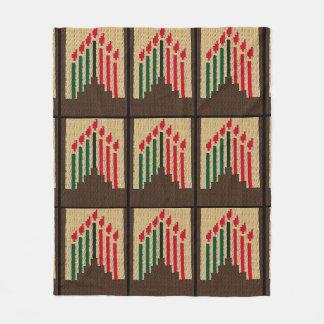 Kwanzaa Candles Brown Red Black Green Crochet Fleece Blanket