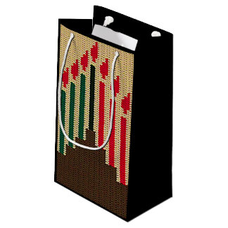 Kwanzaa Candles Brown Red Black Green Crochet Small Gift Bag
