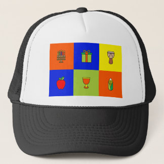 kwanzaa colorblock trucker hat