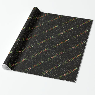 Kwanzaa Colors Golden Mini Stars Wrapping Paper