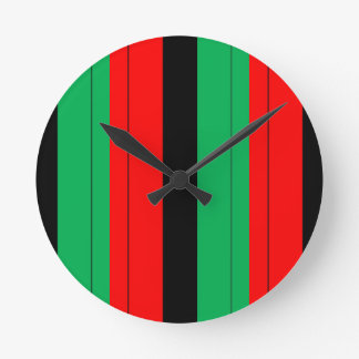 Kwanzaa Colors Red Black Green Stripes Pattern Round Clock