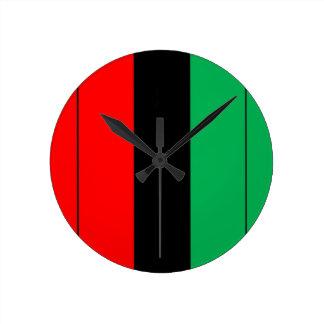 Kwanzaa Colors Red Black Green Stripes Pattern Round Clock