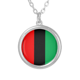 Kwanzaa Colors Red Black Green Stripes Pattern Silver Plated Necklace