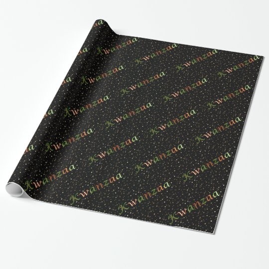 Kwanzaa Colours Golden Mini Stars Wrapping Paper
