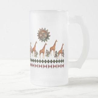 Kwanzaa Giraffes 16 Oz Frosted Glass Beer Mug