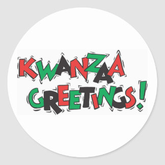 Kwanzaa Greetings Classic Round Sticker