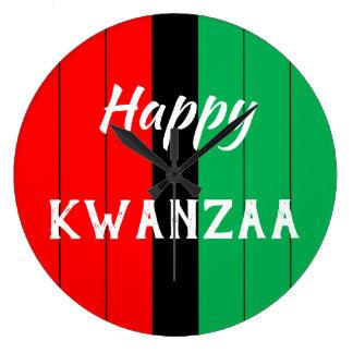 Kwanzaa Kinara Red Black Green Stripes Pattern Large Clock
