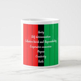 Kwanzaa Principles Red Black Green Stripes Pattern Large Coffee Mug