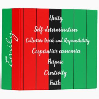 Kwanzaa Principles Striped Pattern Red Black Green 3 Ring Binder