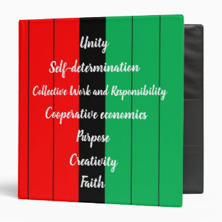 Kwanzaa Principles Striped Pattern Red Black Green Binder