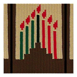 Kwanzaa Red Black Green Candles Crochet Print